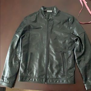 Calvin Klein Croc Embossed Leather Jacket